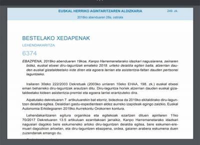 Euskal gizataldeetan egoera larrian eta asistentzia-faltan dauden pertsonei laguntzeko 2019rako deialdia