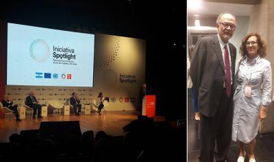 Sara Pagola en el lanzamiento del programa Spotlight en Argentina