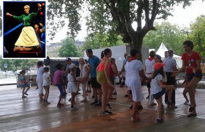 """Guadalupe Gartzia, 2018ko """"Dansons sur les quais"""" Jaialdian; goiko argazki txikian, Guadalupe Euskal Aste Argentinarrean"""