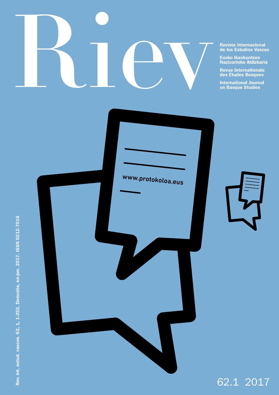 Revista Internacional de los Estudios Vascos. RIEV, 62, 1