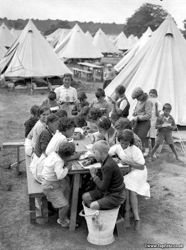 Some Basque refugee children at their camp at North Stoneham